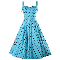 NEU 50s Swing Vintage Retro Rockabilly M hellblau Dots Petticoat Kleid Karneval