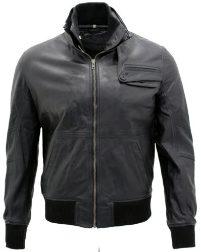 Men's Casual Black Leather Biker Jacket with Inner Funnel Neck Collar