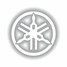 """Logotipo de Yamaha pegatina diapasón 110 mm de 4,3 """"R1 R6 Yzf Xjr Fazer calcomanía Blanco"""