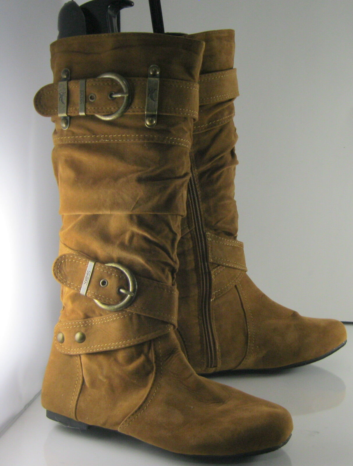 NEW LADIES Tan Flat Knee Boots Round Toe Side Buckle Womens Size 5.5