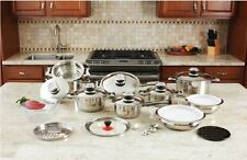 Pots And Pans Cookware Set Stainless Steel Waterless Heavy Gauge 28 Pieces