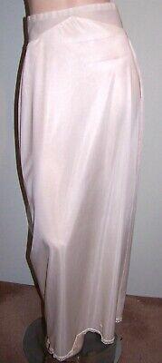 "Women's Clothing Clothing, Shoes & Accessories Sz M Long Petticoat White-nylon Elastic Waist-chincher Back Zipper 15"" Slit Moderate Price"