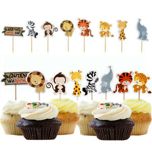 24pcs-Jungle-Animal-Cupcake-Topper-Pick-Kid-Baby-Shower-Birthday-Party-Decor-AU