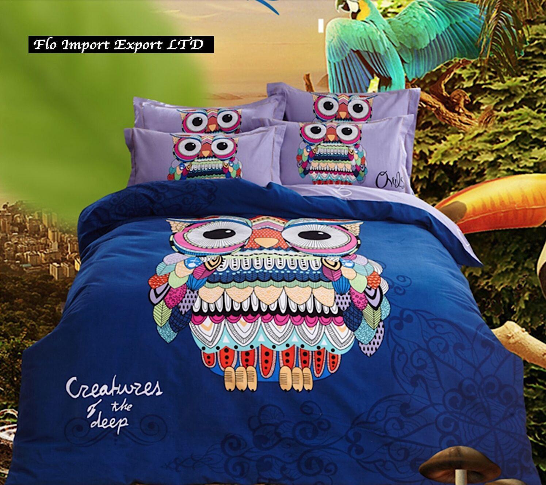 Set Copri Piumone Lenzuolo Federe Copripiumino Gufi Owls Duvet Cover Set BED0058