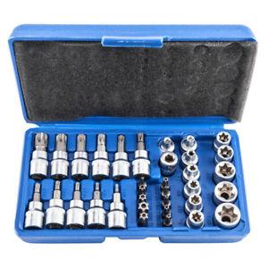 NEW-34pcs-Torx-Star-Sockets-amp-Bit-Set-Male-Female-E-torx-Security-Bits-3-8-Drive