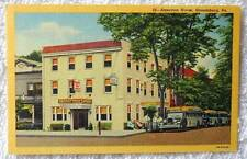 LINEN POSTCARD OLD BUSES AMERICAN HOUSE STROUDSBURG PENNSYLVANIA #2
