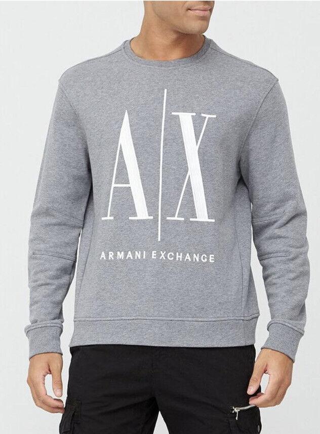 Armani Exchange Icon Large Embroidered Logo Sweatshirt Jumper Grey Medium