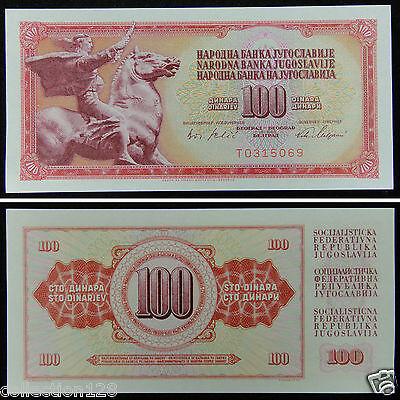 YUGOSLAVIA 100 DINARA 1965 UNC 5 PCS CONSECUTIVE LOT  6 DIGIT P 80b