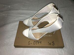 FSJ Women's Shoes White, Open Toe, High Heels, Size 8