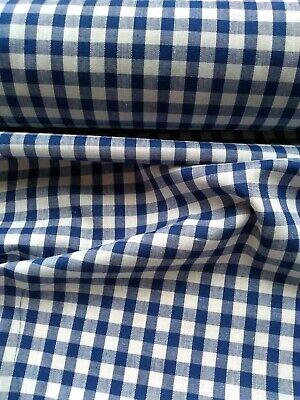 "Per Metre Gingham 1//4/"" Blue Fabric"