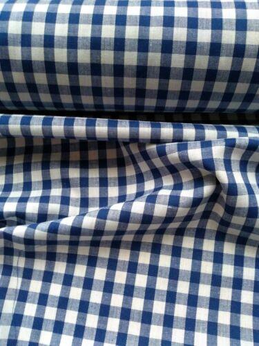 """guinga Compruebe 1//4/"""" mezcla de algodón tejido Vendido Por Metro//// Azul Real"""