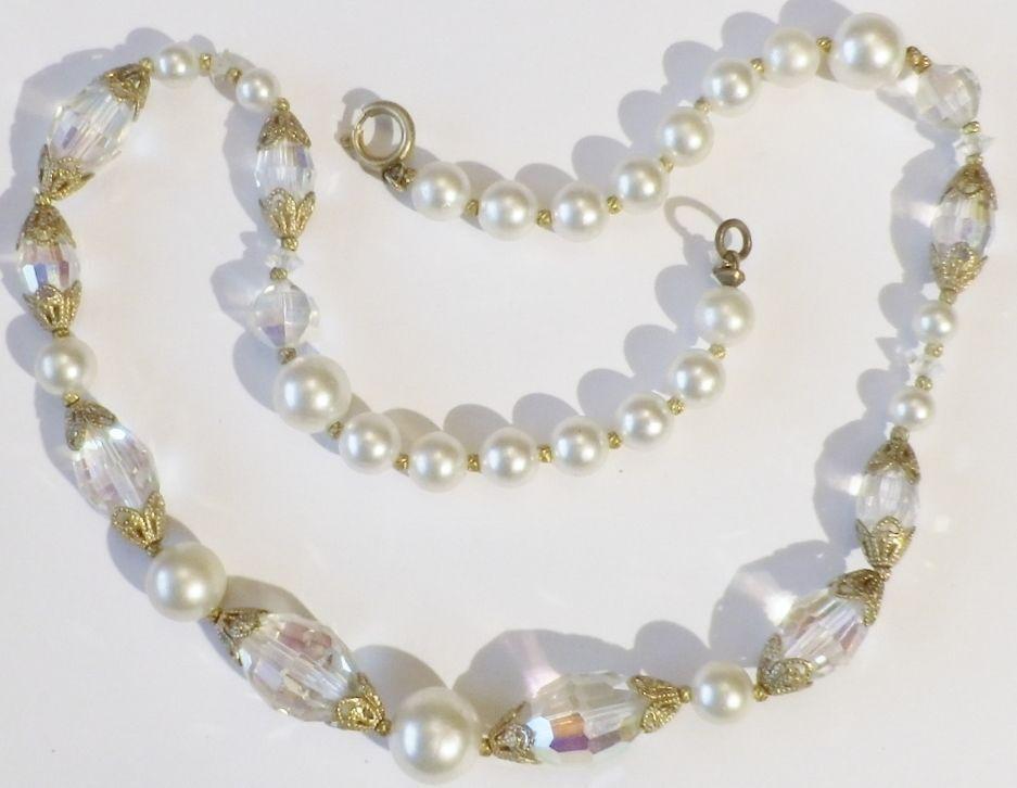 Collier bijou vintage perle nacré perle cristal facette boréal color or  5001