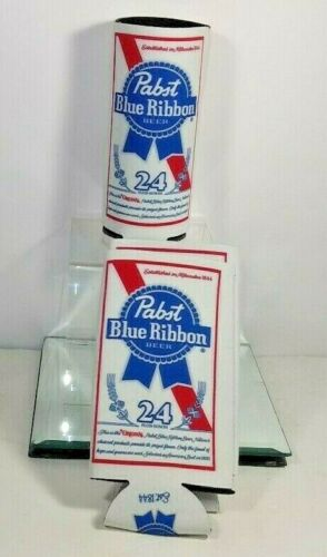 2 PABST BLUE RIBBON BEER ADVERTISING CAN BOTTLE INSULATOR KOOZIE LARGE NEW