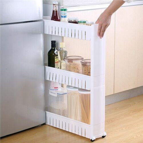 3 Ebene Nischenregal Badrollwagen Küchenregal Flaschenregal Aufbewahrungsregal