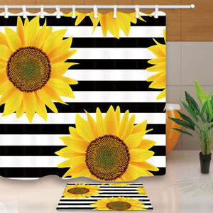 Image Is Loading Sunflowers On A Striped Waterproof Bathroom Fabric Shower