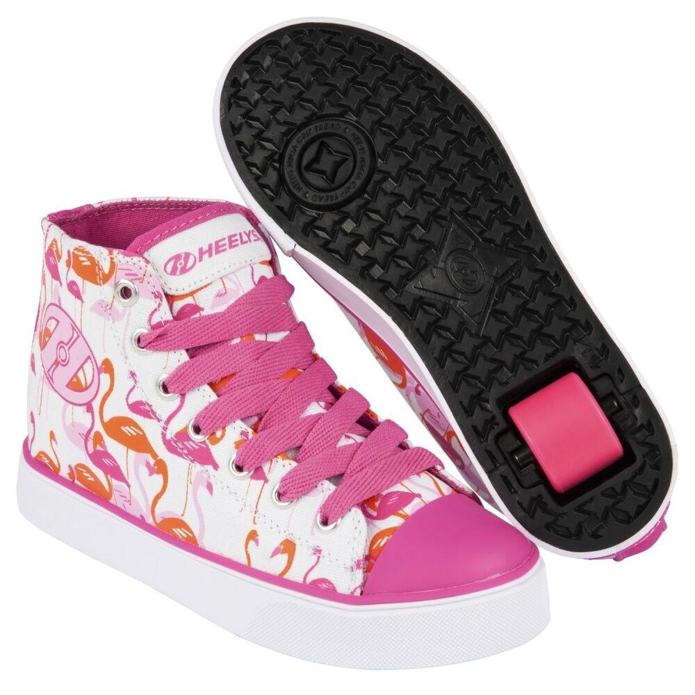 Heelys Heelys Heelys Veloz Wheeled Roller Schuhes - Weiß Rosa Flamingo Print + Free DVD 61fcb1