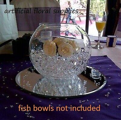 "(004) 3x 12"" GLASS mirror plate 30cm ~ table centre pieces wedding fish bowls"