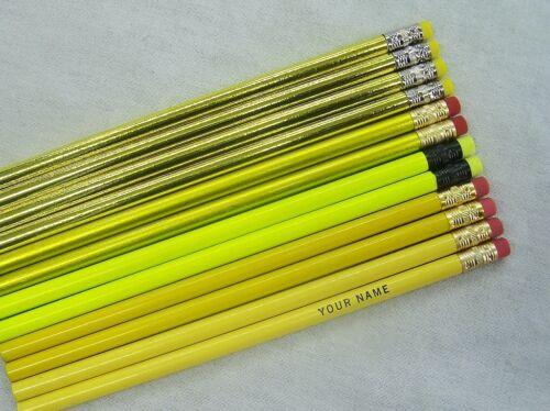 "12 /""Shades of Yellow/"" Personalized Pencils w//Glitzy"