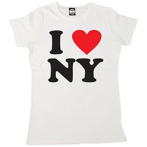 I Love NY New York Womens T-Shirt Ladies Rhinestone Tee Heart White
