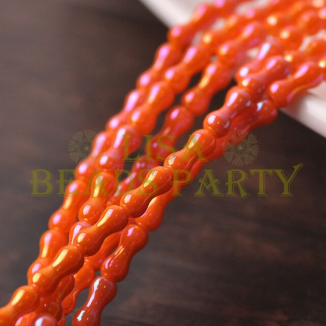 New 68~71pcs/Strand 8X3.5mm Bone Shape Spacer Glass Beads Opaque Orange Colorful