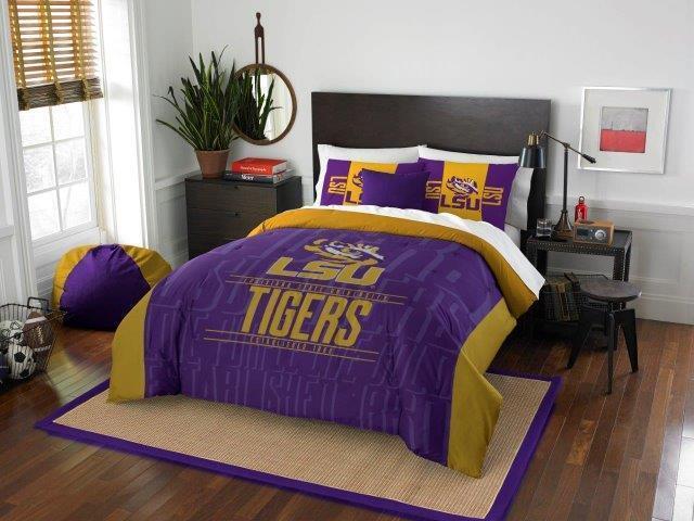 LSU Tigers - 3 Pc FULL   QUEEN Größe Printed Comforter   Sham Set
