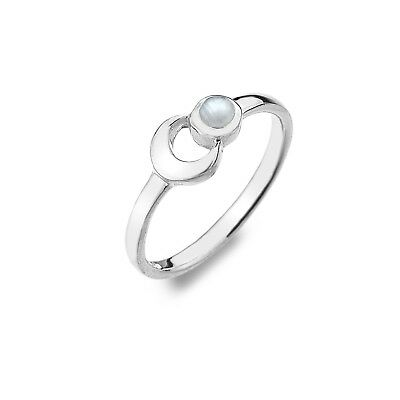 Solid Silver Moonstone Ring Spiral Design Sterling 925 Stamped Size K Q