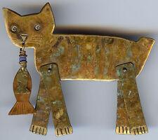 "MIMI ""ORPHEUS VISITS FISH MARKET"" VINTAGE MOVABLE BRASS CAT & DANGLE FISH PIN"