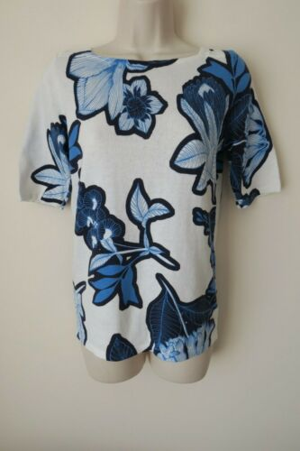 Next Women`s Sweater Floral White and Blue 6,8,10,14,20