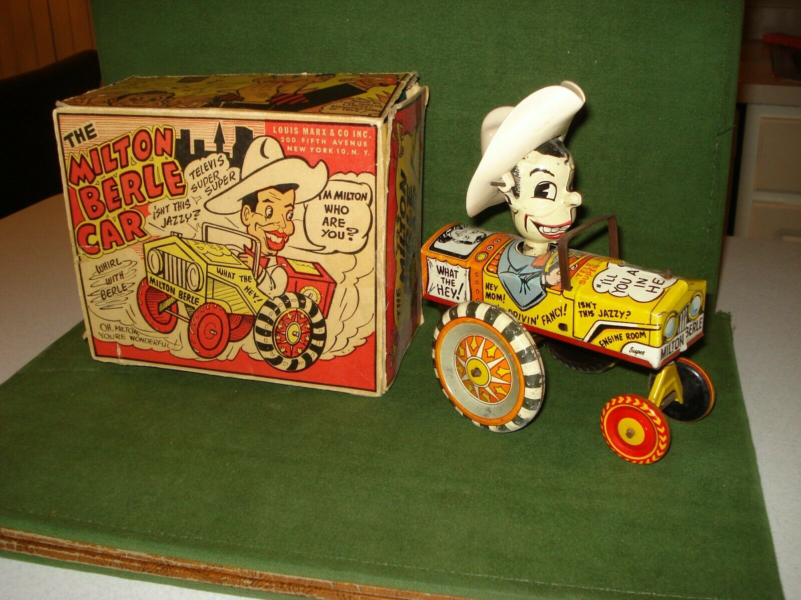 1950 MILTON BERLE CAR by MARX, HIGH GRADE, W  BOX, WIND-UP TOY.