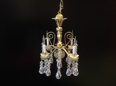 Dollhouse Miniature Handcrafted Crystal Chandelier 12V 1:12 Scale