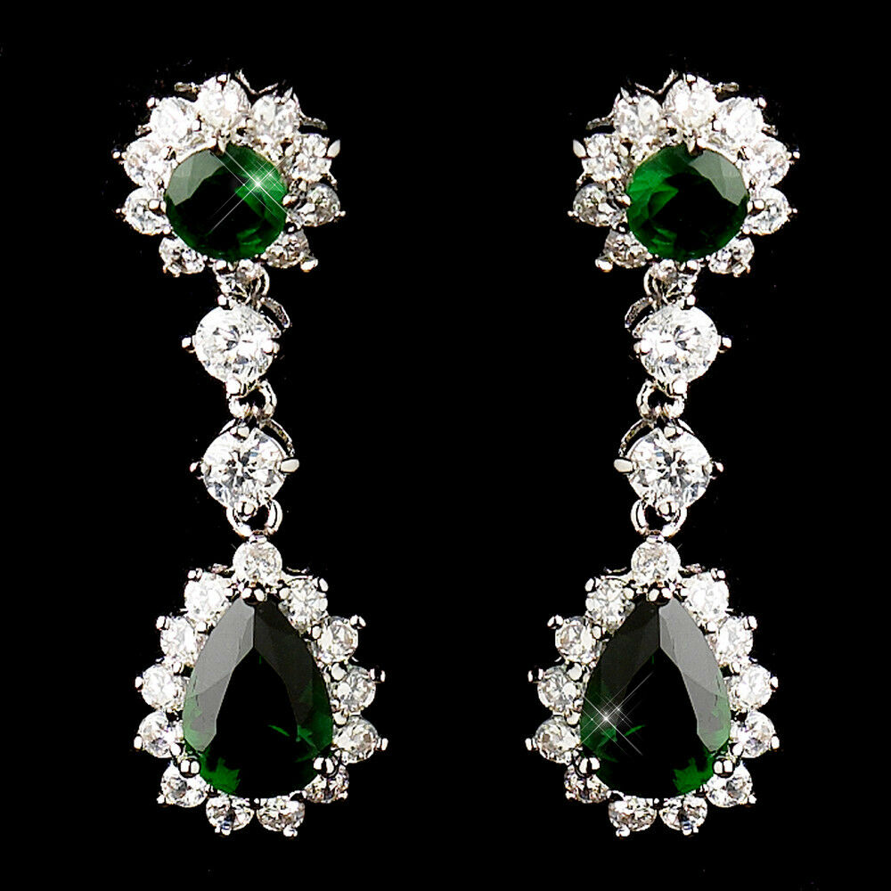 7b Diana Princess Look Green Emerald CZ Teardrop Wedding Earrings
