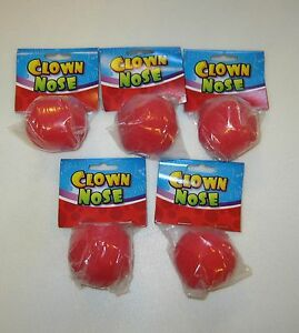5-NEW-RED-FOAM-CLOWN-NOSES-CIRCUS-CLOWN-COSTUME-ACCESSORY-CARNIVAL-PARTY-FAVORS