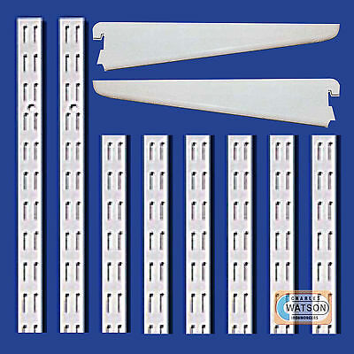 WHITE Twin Slot Shelving System Uprights Brackets Twinslot Adjustable Racking EX