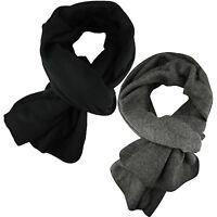 New Mens Scarf Winter Wrap Plain Soft Fleece Long Scarves Thin Warm Black Grey