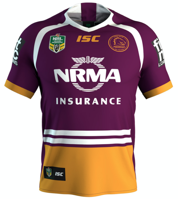 20fef9e3a74 BRISBANE Broncos 2018 Mens Rugby Jersey by ISC M | eBay