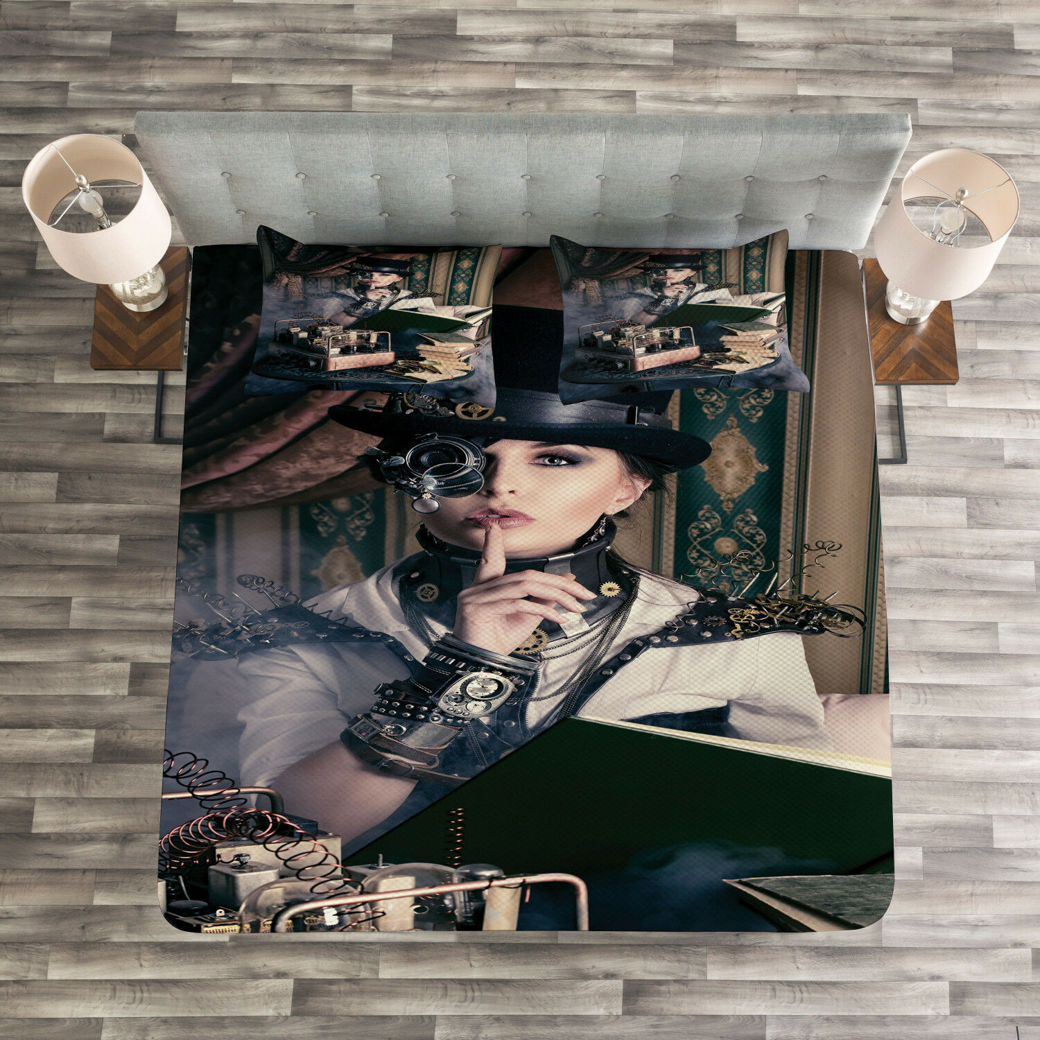 Gothic Quilted Bedspread & Pillow Shams Set, Steampunk Woman Vintage Print