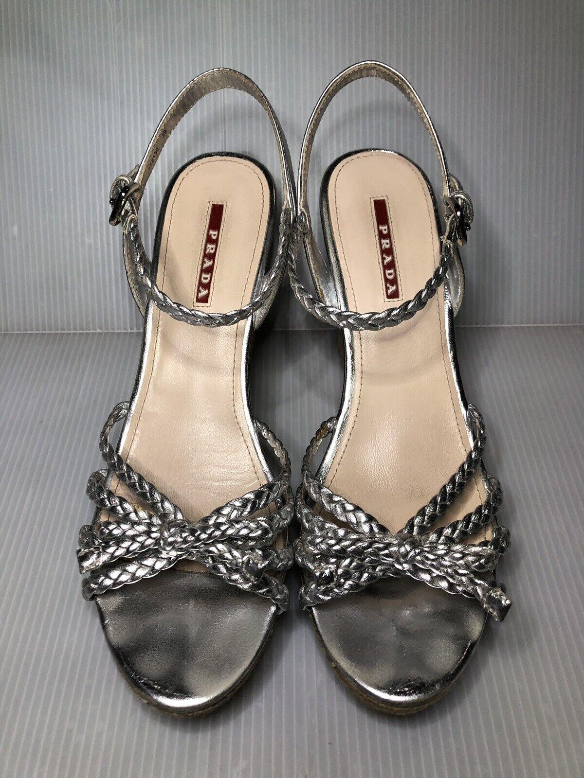 PRADA Leather Cork Wedge Braed argento  Metallic Sandals 39EU  8US Runs Small  vendita online