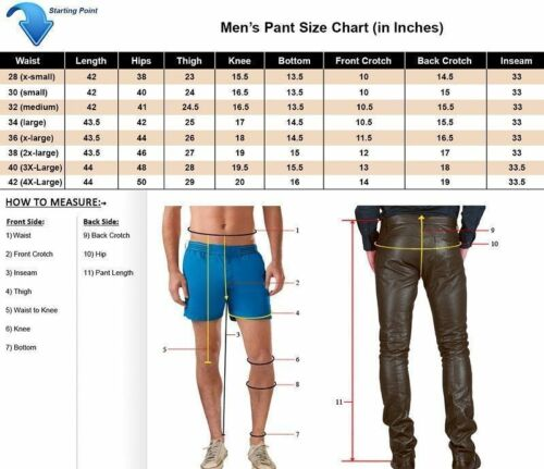 FAST SHIPPING Men Classic Black  Genuine Leather 5 Pocket Motorcycle Pants