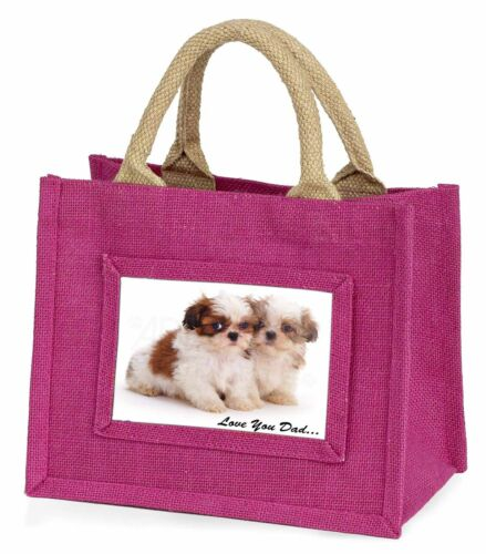 DAD-123BMP Shih-Tzu Dogs /'Love You Dad/' Little Girls Small Pink Shopping Bag Ch