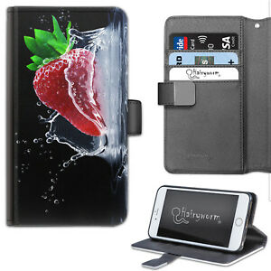 STRAWBERRY-SPLASH-PHONE-CASE-LEATHER-WALLET-FLIP-CASE-COVER-FOR-SAMSUNG-APPLE