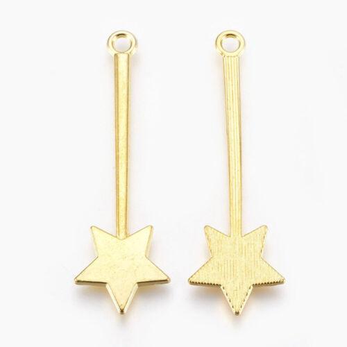2 Colgantes Varita Mágica Oro Brillante Estrella encantos cuento de hadas hallazgos 48mm