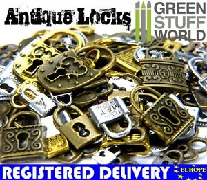Antique-Locks-Beads-85gr-40-50-units-latch-latches-Necklace-Vintage-Charm