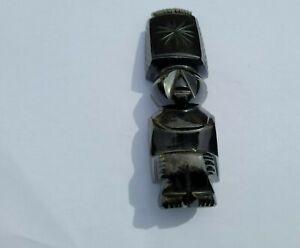 Statue, statuette obsidienne dorée, idole maya, Azteque