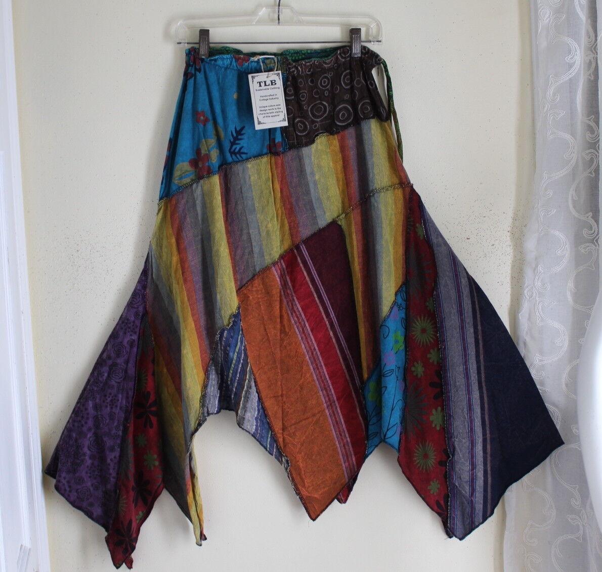 NEW TLB Handmade O S S M L XL Aline Funky Skirt Patchwork Art-to-Wear Lagenlook