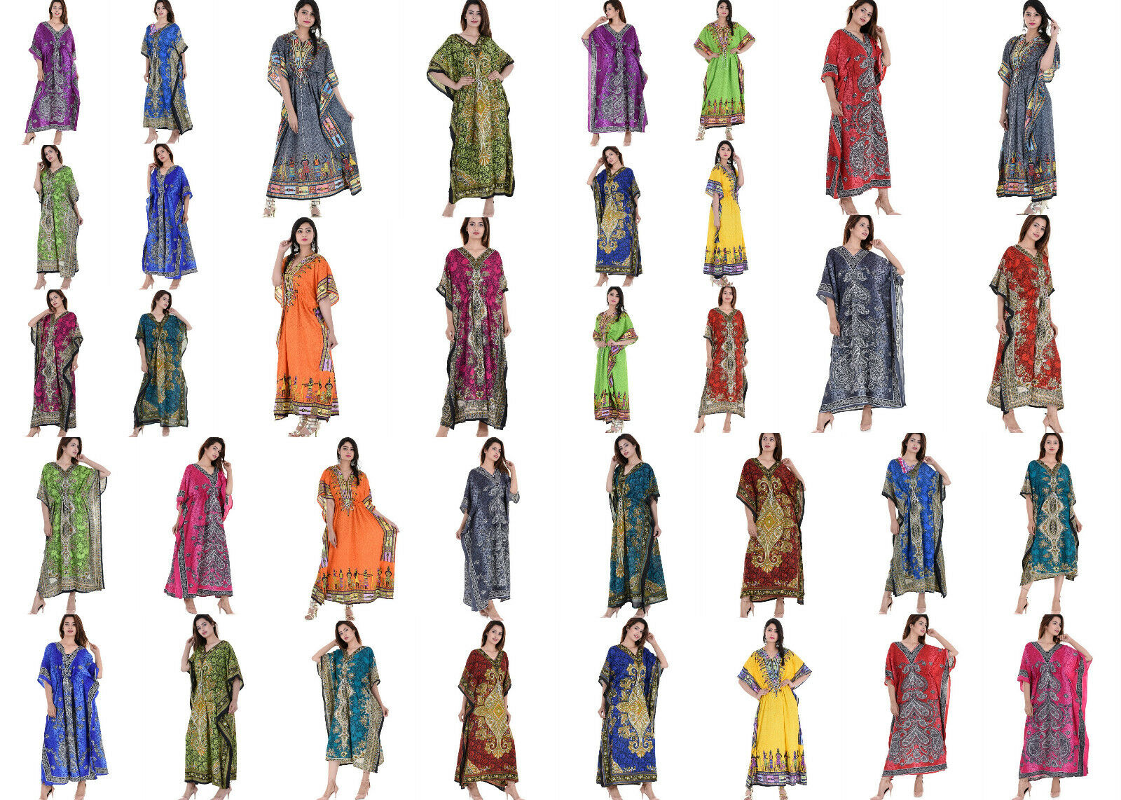 Wholesale Lot 50 Assorted Pcs Long Beach Maxi Gown Kaftan Dress One Size Caftan
