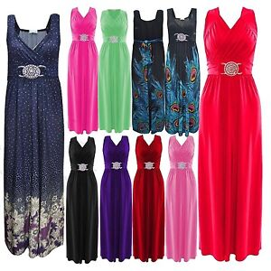 Womens-Grecian-Buckle-Maxi-Dress-Sleeveless-Evening-Wear-lot-size-Summer-Dresses
