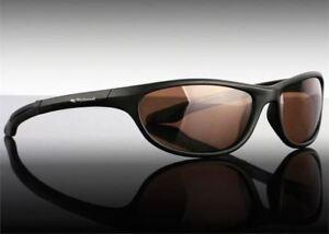 Wychwood Black Wrap Around Polarised Sunglasses /  Brown Lens / Leeda