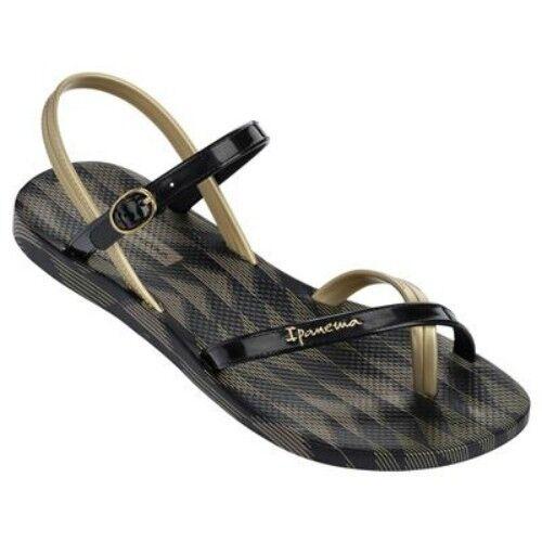 1af0f11eba66c Ipanema Brasil Diamond V Black gold Womens Beach Sandals Size UK 5 (eu 38)  for sale online