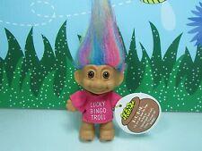 "LUCKY BINGO TROLL w/RAINBOW HAIR - 3"" Russ Troll Doll - NEW STORE STOCK"