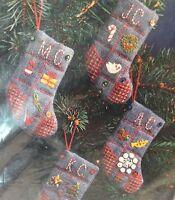 Crewel Embroidery 4 Mini Denim Stocking Christmas Idea Kit 1978 7940 Sequins